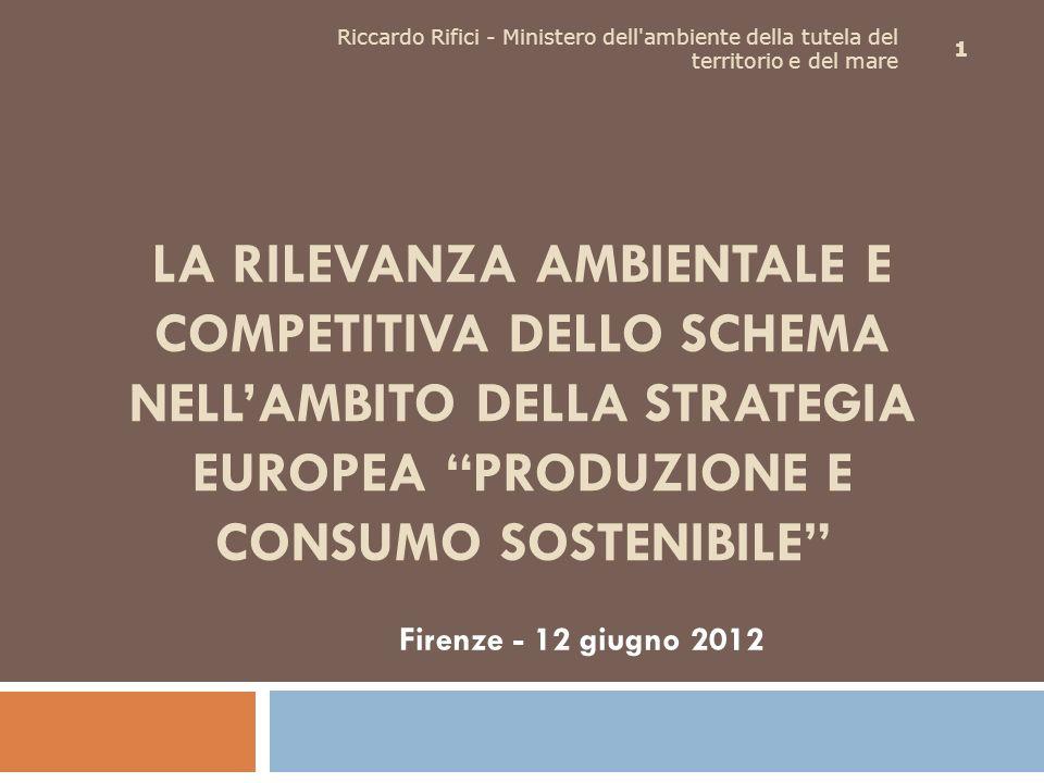 LA RILEVANZA AMBIENTALE E COMPETITIVA DELLO SCHEMA NELLAMBITO DELLA STRATEGIA EUROPEA PRODUZIONE E CONSUMO SOSTENIBILE Firenze - 12 giugno 2012 1 Ricc