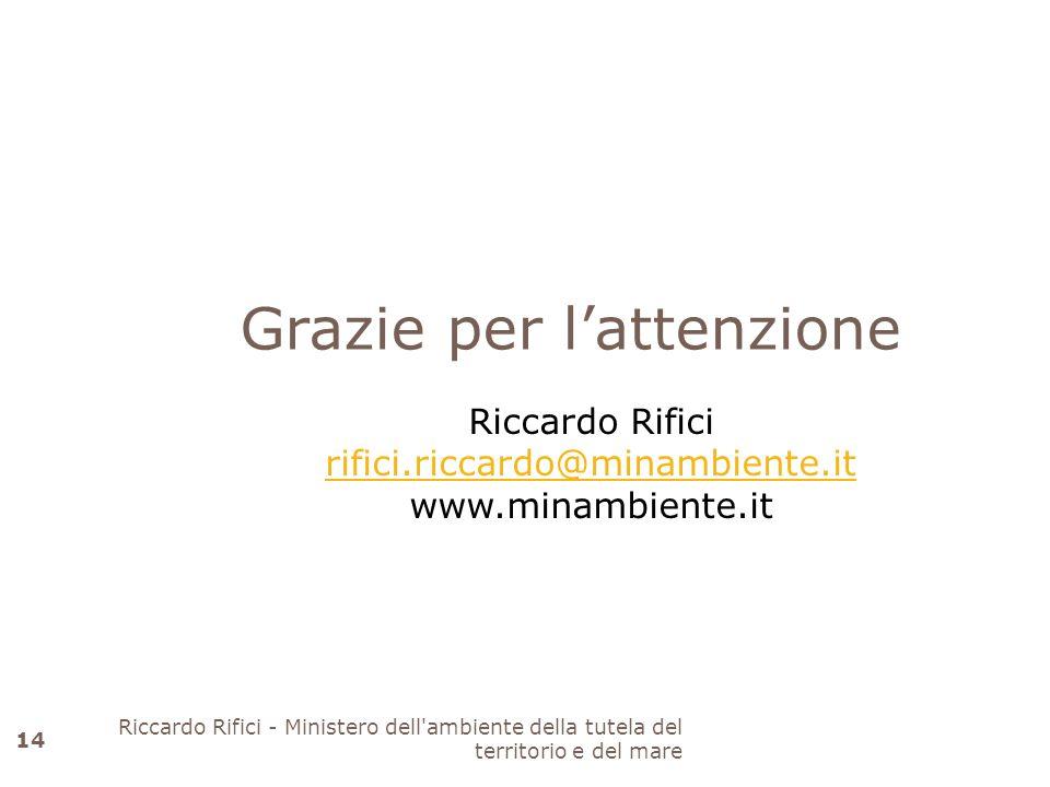 Grazie per lattenzione Riccardo Rifici rifici.riccardo@minambiente.it www.minambiente.it 14 Riccardo Rifici - Ministero dell'ambiente della tutela del