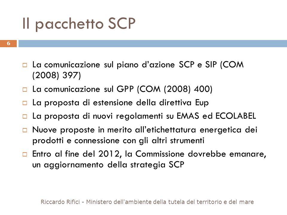 Il pacchetto SCP La comunicazione sul piano dazione SCP e SIP (COM (2008) 397) La comunicazione sul GPP (COM (2008) 400) La proposta di estensione del