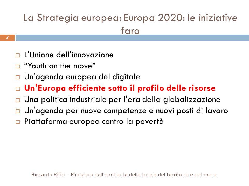 La Strategia europea: Europa 2020: le iniziative faro L'Unione dell'innovazione Youth on the move Un'agenda europea del digitale Un'Europa efficiente