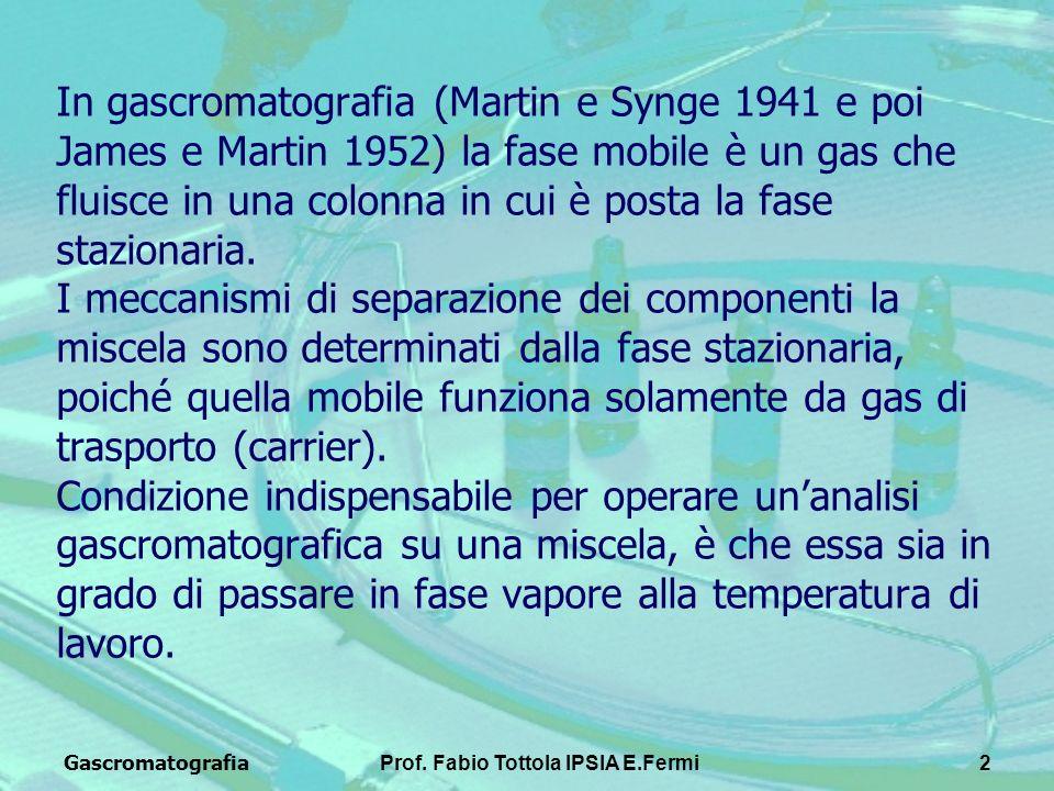 GascromatografiaProf. Fabio Tottola IPSIA E.Fermi2 In gascromatografia (Martin e Synge 1941 e poi James e Martin 1952) la fase mobile è un gas che flu