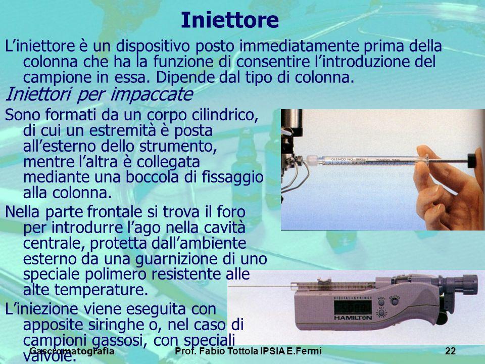 GascromatografiaProf. Fabio Tottola IPSIA E.Fermi22 Iniettore Iniettori per impaccate Sono formati da un corpo cilindrico, di cui un estremità è posta