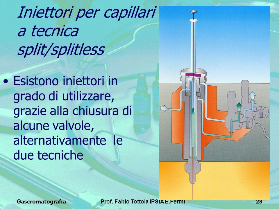 GascromatografiaProf. Fabio Tottola IPSIA E.Fermi28 Iniettori per capillari a tecnica split/splitless Esistono iniettori in grado di utilizzare, grazi