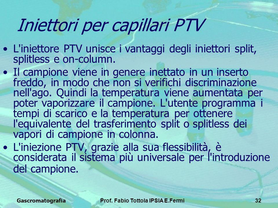 GascromatografiaProf. Fabio Tottola IPSIA E.Fermi32 Iniettori per capillari PTV L'iniettore PTV unisce i vantaggi degli iniettori split, splitless e o