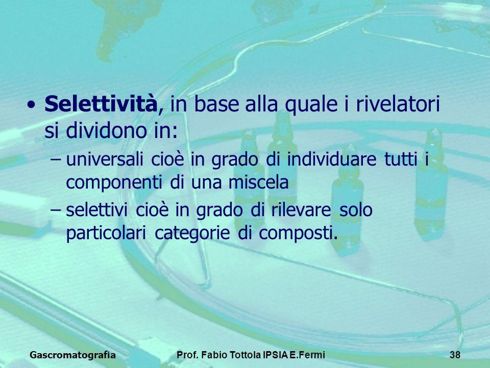 GascromatografiaProf. Fabio Tottola IPSIA E.Fermi38 Selettività, in base alla quale i rivelatori si dividono in: –universali cioè in grado di individu