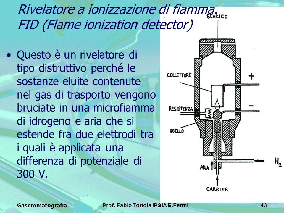 GascromatografiaProf. Fabio Tottola IPSIA E.Fermi43 Questo è un rivelatore di tipo distruttivo perché le sostanze eluite contenute nel gas di trasport