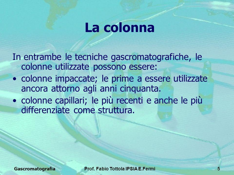 GascromatografiaProf. Fabio Tottola IPSIA E.Fermi5 La colonna In entrambe le tecniche gascromatografiche, le colonne utilizzate possono essere: colonn
