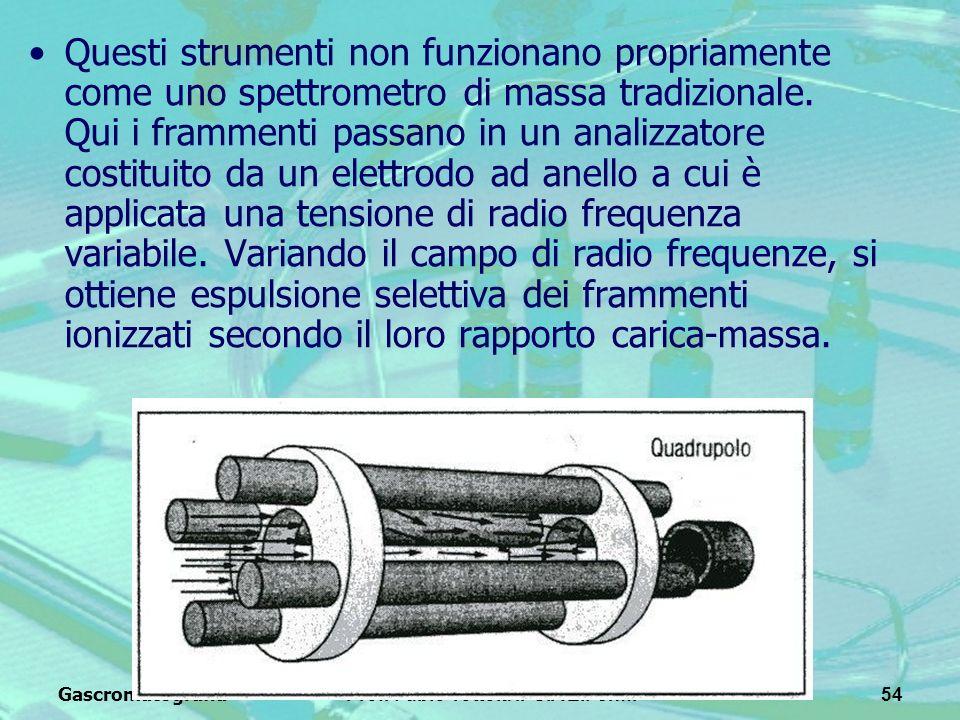GascromatografiaProf. Fabio Tottola IPSIA E.Fermi54 Questi strumenti non funzionano propriamente come uno spettrometro di massa tradizionale. Qui i fr