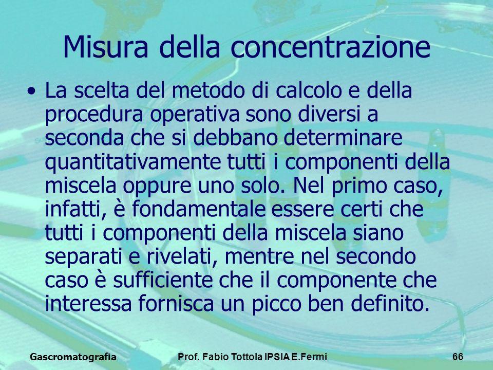 GascromatografiaProf. Fabio Tottola IPSIA E.Fermi66 Misura della concentrazione La scelta del metodo di calcolo e della procedura operativa sono diver