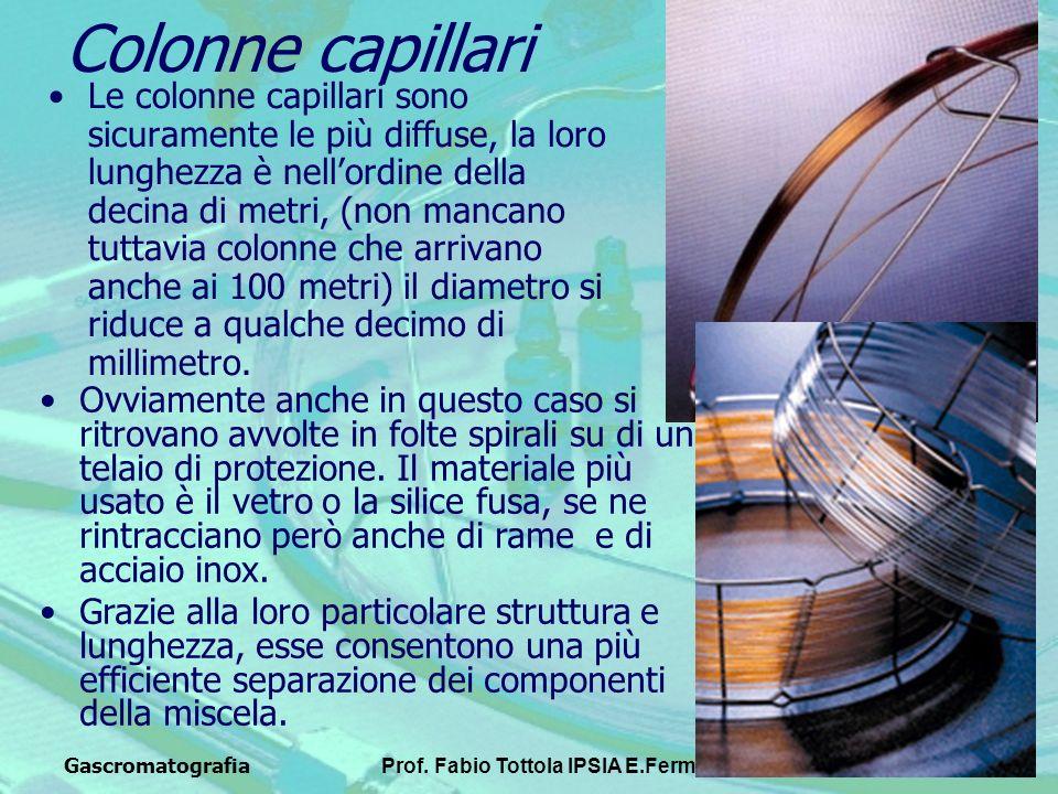 GascromatografiaProf. Fabio Tottola IPSIA E.Fermi8 Colonne capillari Le colonne capillari sono sicuramente le più diffuse, la loro lunghezza è nellord