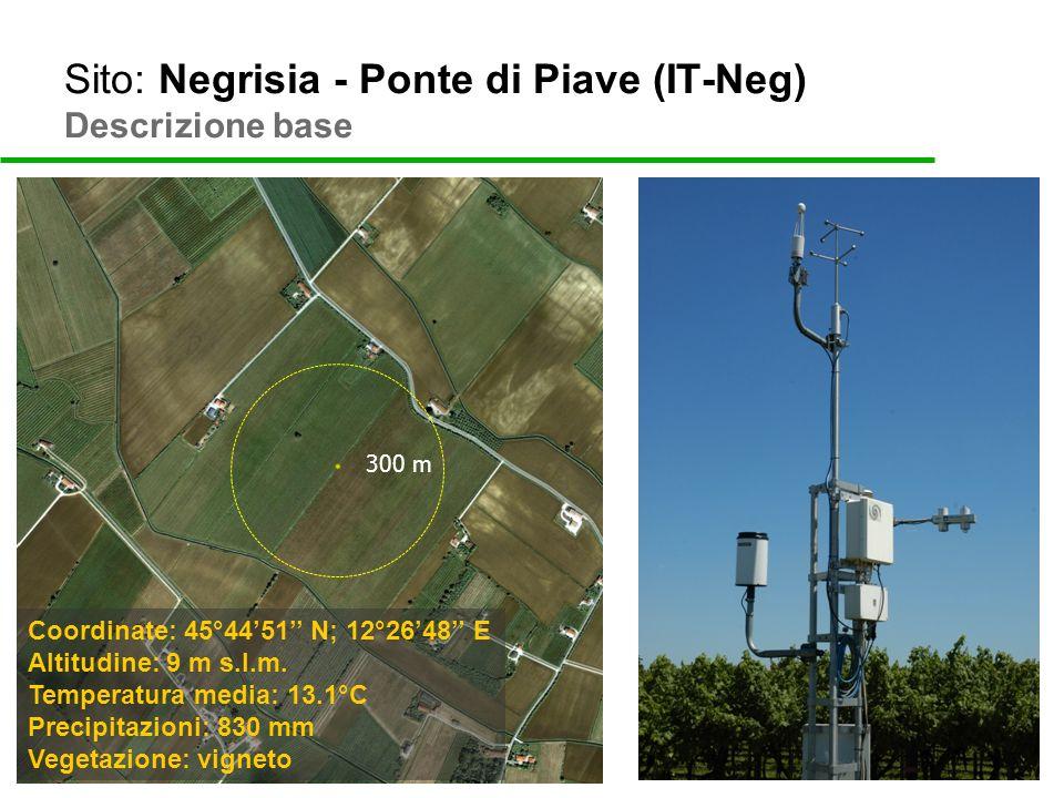 Sito: Negrisia - Ponte di Piave (IT-Neg) Descrizione base 300 m Coordinate: 45°4451 N; 12°2648 E Altitudine: 9 m s.l.m. Temperatura media: 13.1°C Prec