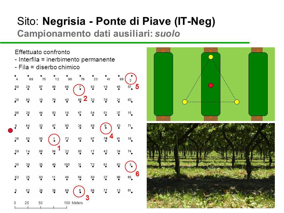 Sito: Negrisia - Ponte di Piave (IT-Neg) Campionamento dati ausiliari: suolo 025100 Meters50 Effettuato confronto - Interfila = inerbimento permanente