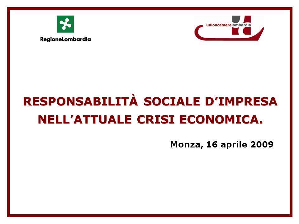 RESPONSABILITÀ SOCIALE DIMPRESA NELLATTUALE CRISI ECONOMICA. Monza, 16 aprile 2009