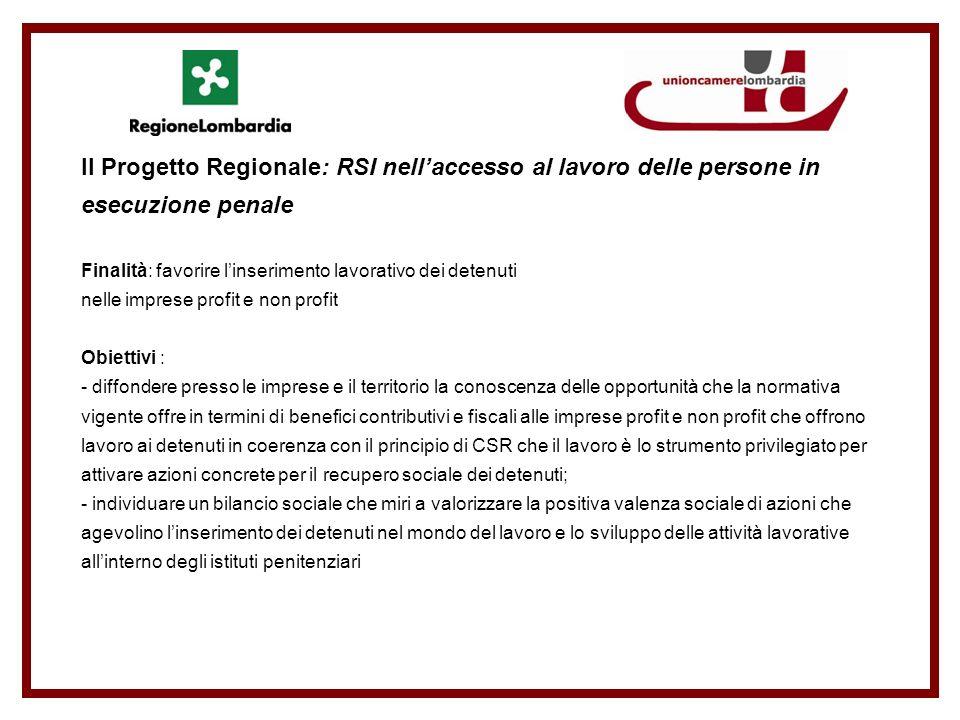 Il Progetto Regionale: RSI nellaccesso al lavoro delle persone in esecuzione penale Finalità: favorire linserimento lavorativo dei detenuti nelle impr