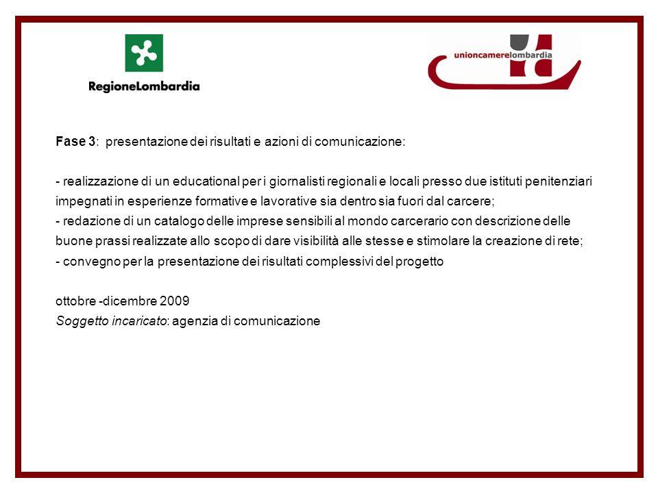 Fase 3: presentazione dei risultati e azioni di comunicazione: - realizzazione di un educational per i giornalisti regionali e locali presso due istit