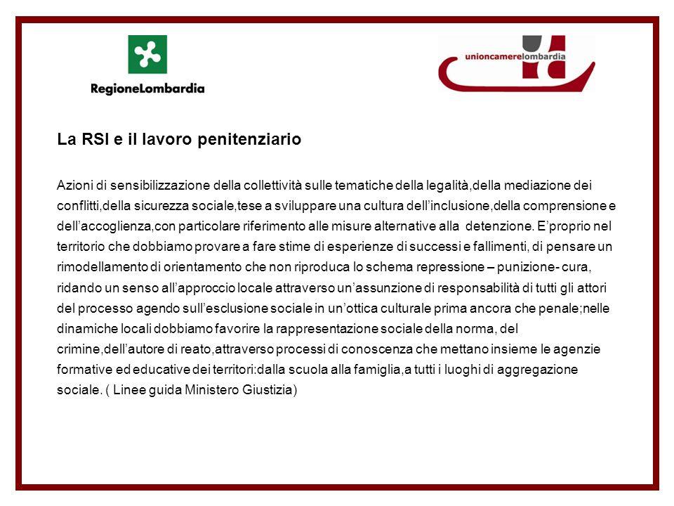 La RSI e il lavoro penitenziario Azioni di sensibilizzazione della collettività sulle tematiche della legalità,della mediazione dei conflitti,della si
