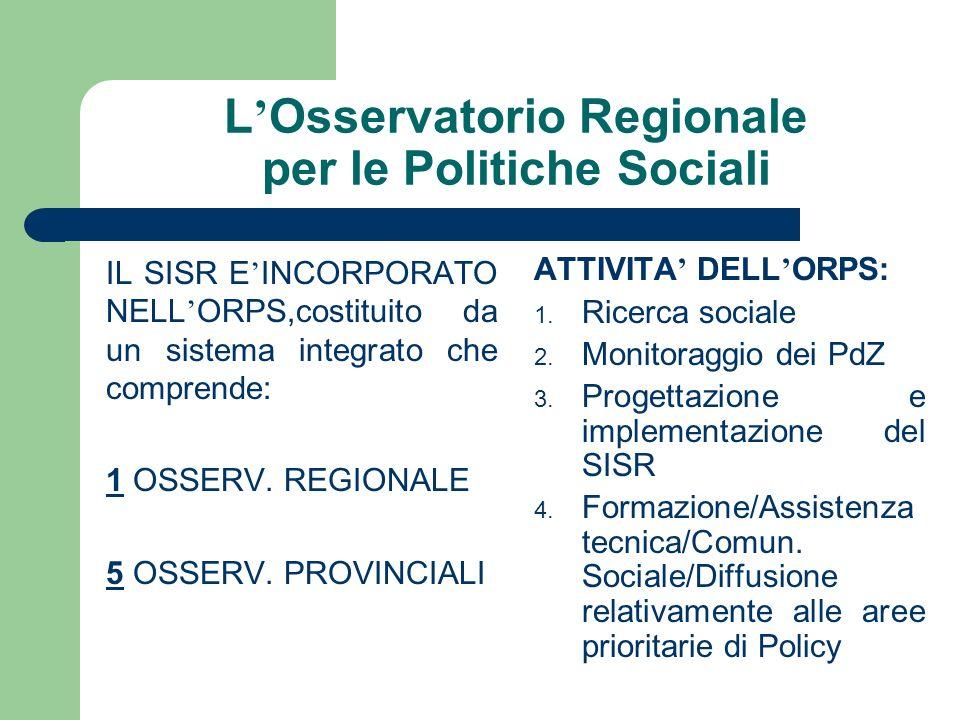 L Osservatorio Regionale per le Politiche Sociali IL SISR E INCORPORATO NELL ORPS,costituito da un sistema integrato che comprende: 1 OSSERV.