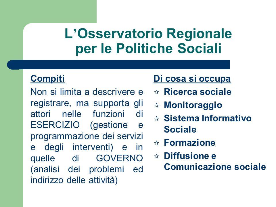 Sistema informativo Sociale Regionale e Osservatorio Regionale delle Politiche Sociali QUADRO NORMATIVO DI RIFERIMENTO Art.