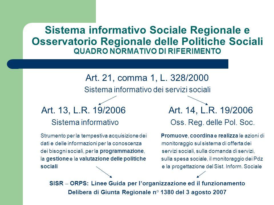 L Osservatorio REGIONALE delle PS: ruoli specifici - L ORPS è struttura operativa dell Assessorato alla Solidarietà – Settore Programmazione Sociale e Integrazione Sociosanitaria - Sostiene i processi decisionali e le attività di programmazione, coordinamento e controllo, attraverso la ricerca sociale e la diffusione delle informazioni
