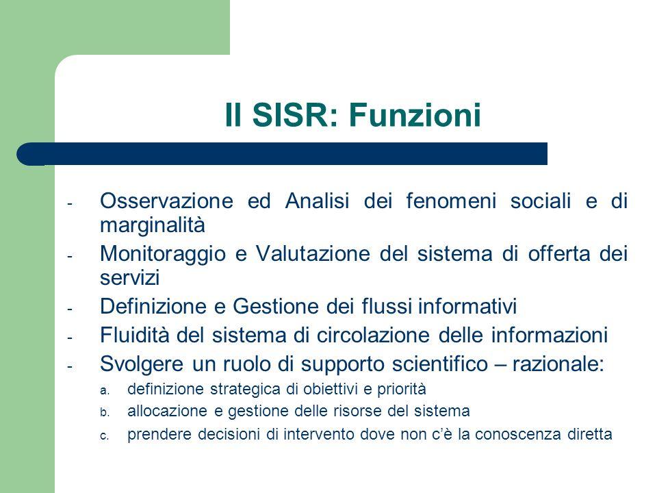 Il SISR: Funzioni - Osservazione ed Analisi dei fenomeni sociali e di marginalità - Monitoraggio e Valutazione del sistema di offerta dei servizi - Definizione e Gestione dei flussi informativi - Fluidità del sistema di circolazione delle informazioni - Svolgere un ruolo di supporto scientifico – razionale: a.