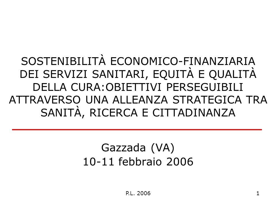 P.L. 20061 SOSTENIBILITÀ ECONOMICO-FINANZIARIA DEI SERVIZI SANITARI, EQUITÀ E QUALITÀ DELLA CURA:OBIETTIVI PERSEGUIBILI ATTRAVERSO UNA ALLEANZA STRATE