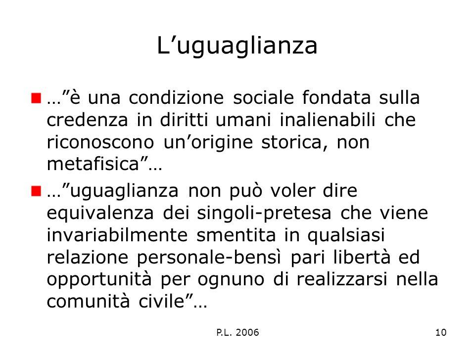 P.L. 200610 Luguaglianza …è una condizione sociale fondata sulla credenza in diritti umani inalienabili che riconoscono unorigine storica, non metafis