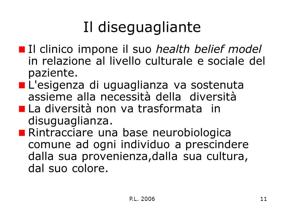 P.L. 200611 Il diseguagliante Il clinico impone il suo health belief model in relazione al livello culturale e sociale del paziente. L'esigenza di ugu