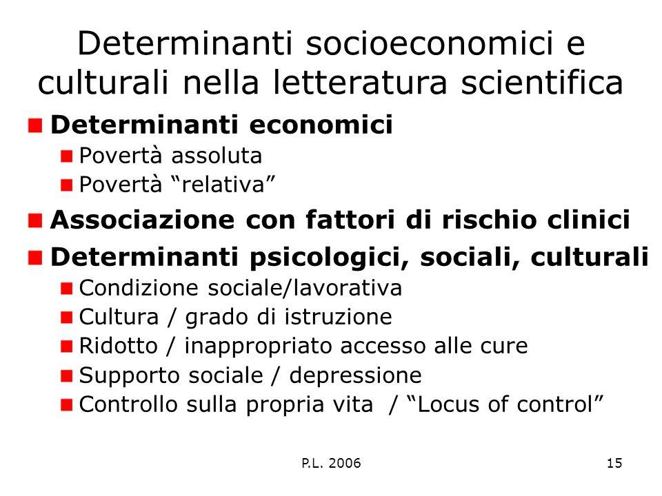 P.L. 200615 Determinanti socioeconomici e culturali nella letteratura scientifica Determinanti economici Povertà assoluta Povertà relativa Associazion