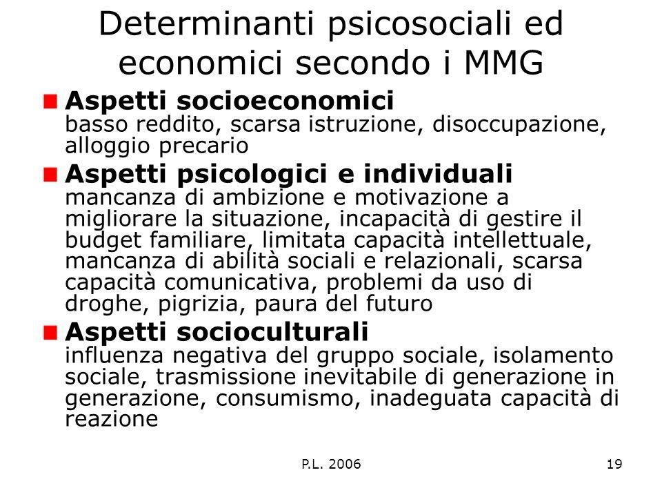 P.L. 200619 Determinanti psicosociali ed economici secondo i MMG Aspetti socioeconomici basso reddito, scarsa istruzione, disoccupazione, alloggio pre