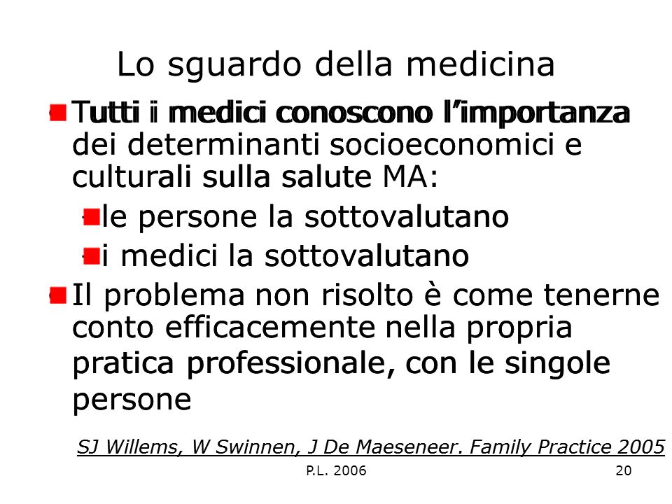P.L. 200620 Lo sguardo della medicina Tutti i medici conoscono limportanza dei determinanti socioeconomici e culturali sulla salute –le persone la sot