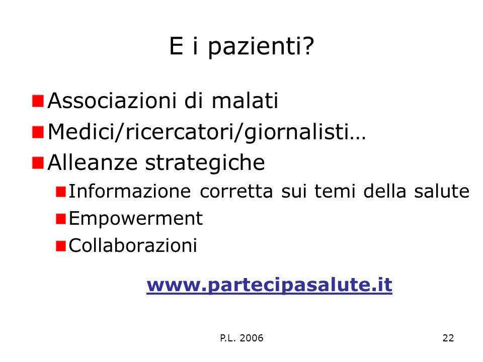 P.L. 200622 E i pazienti? Associazioni di malati Medici/ricercatori/giornalisti… Alleanze strategiche Informazione corretta sui temi della salute Empo