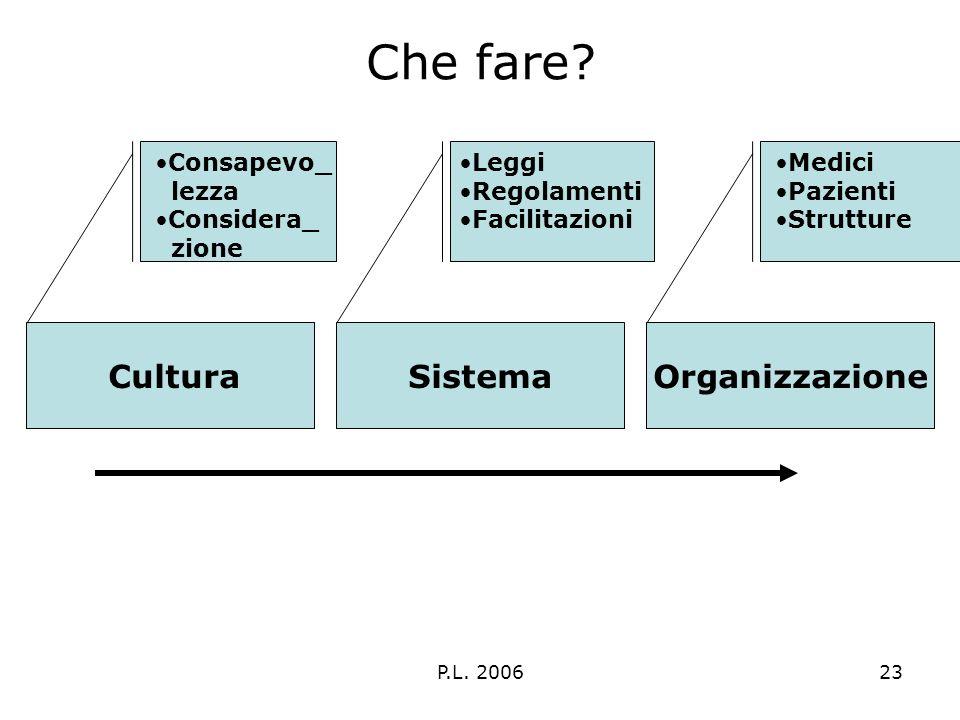 P.L. 200623 Che fare? CulturaSistemaOrganizzazione Medici Pazienti Strutture Leggi Regolamenti Facilitazioni Consapevo_ lezza Considera_ zione