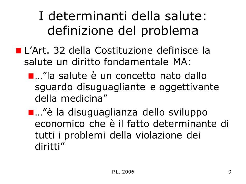 P.L. 20069 I determinanti della salute: definizione del problema LArt.