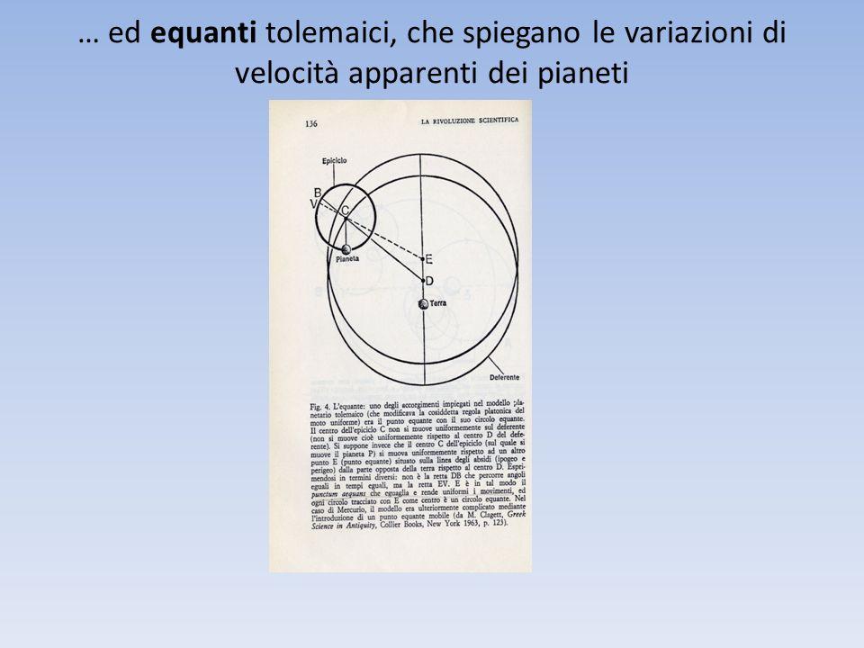 … ed equanti tolemaici, che spiegano le variazioni di velocità apparenti dei pianeti