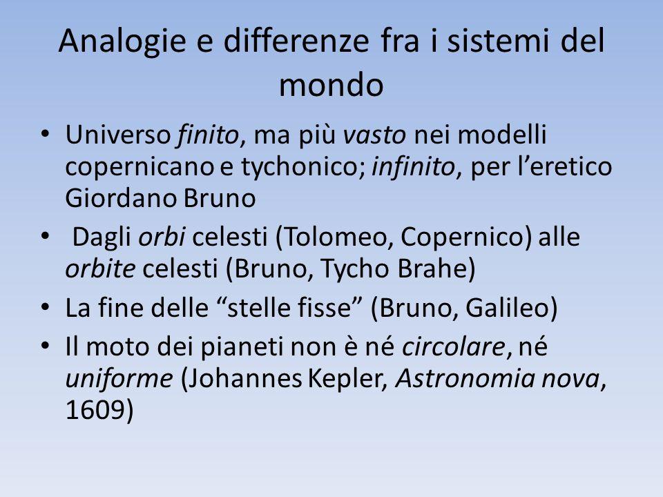 Analogie e differenze fra i sistemi del mondo Universo finito, ma più vasto nei modelli copernicano e tychonico; infinito, per leretico Giordano Bruno