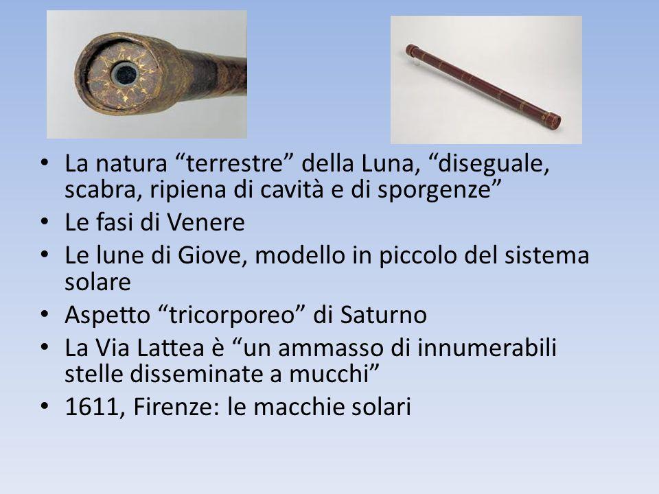 La natura terrestre della Luna, diseguale, scabra, ripiena di cavità e di sporgenze Le fasi di Venere Le lune di Giove, modello in piccolo del sistema