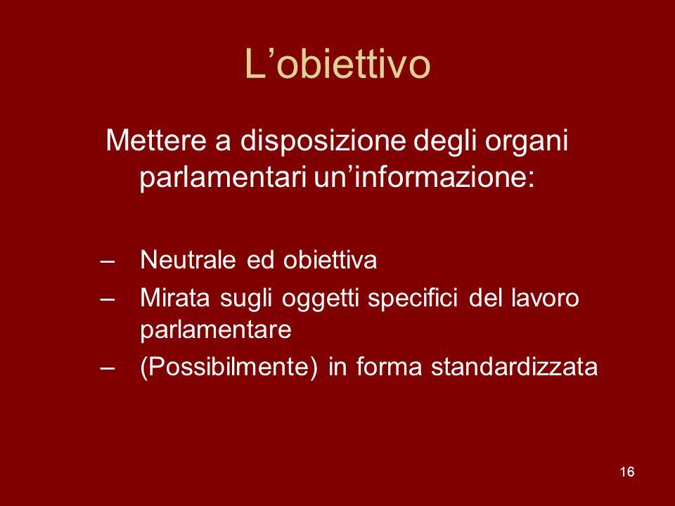 16 Lobiettivo Mettere a disposizione degli organi parlamentari uninformazione: –Neutrale ed obiettiva –Mirata sugli oggetti specifici del lavoro parla