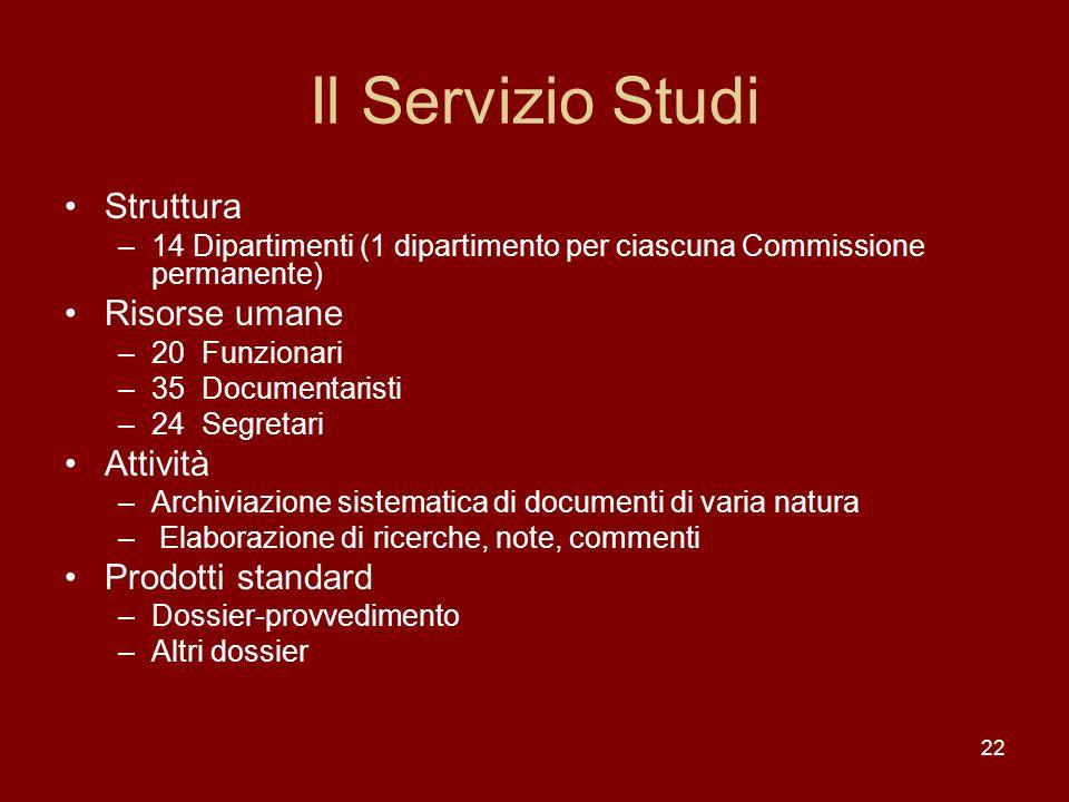 22 Il Servizio Studi Struttura –14 Dipartimenti (1 dipartimento per ciascuna Commissione permanente) Risorse umane –20 Funzionari –35 Documentaristi –