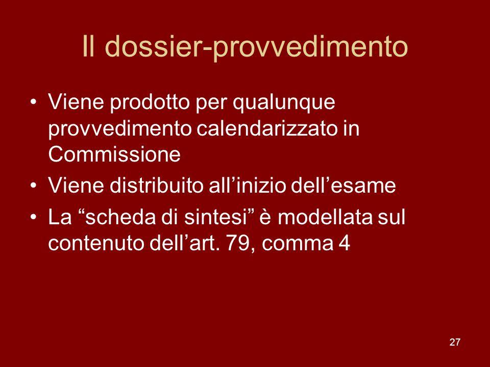 27 Il dossier-provvedimento Viene prodotto per qualunque provvedimento calendarizzato in Commissione Viene distribuito allinizio dellesame La scheda d