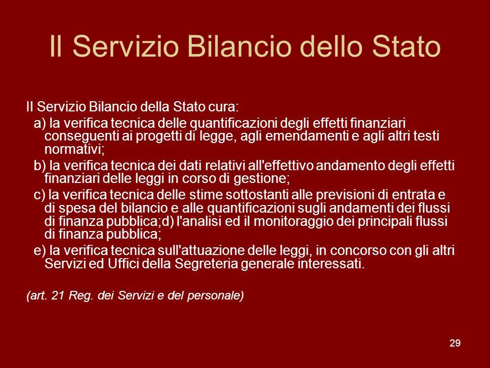 29 Il Servizio Bilancio dello Stato Il Servizio Bilancio della Stato cura: a) la verifica tecnica delle quantificazioni degli effetti finanziari conse