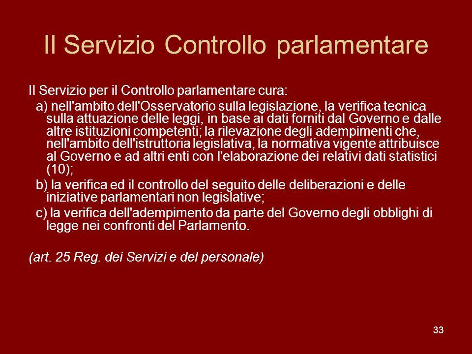 33 Il Servizio Controllo parlamentare Il Servizio per il Controllo parlamentare cura: a) nell'ambito dell'Osservatorio sulla legislazione, la verifica
