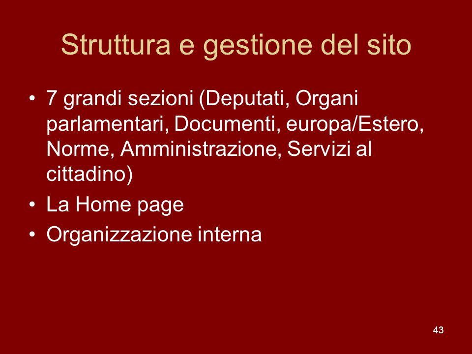 43 Struttura e gestione del sito 7 grandi sezioni (Deputati, Organi parlamentari, Documenti, europa/Estero, Norme, Amministrazione, Servizi al cittadi