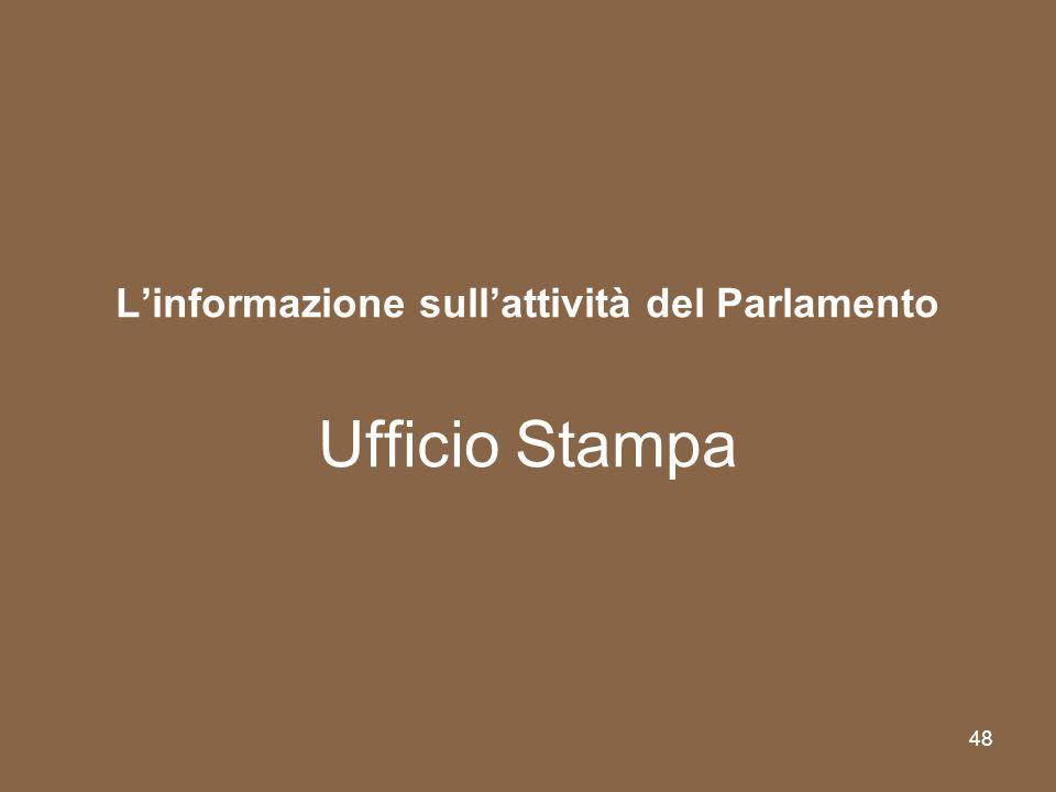 48 Linformazione sullattività del Parlamento Ufficio Stampa