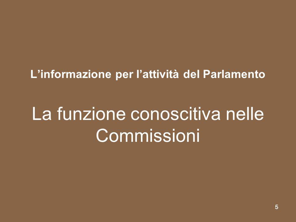 5 Linformazione per lattività del Parlamento La funzione conoscitiva nelle Commissioni