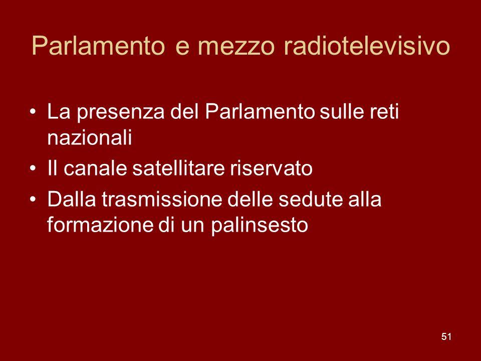 51 Parlamento e mezzo radiotelevisivo La presenza del Parlamento sulle reti nazionali Il canale satellitare riservato Dalla trasmissione delle sedute