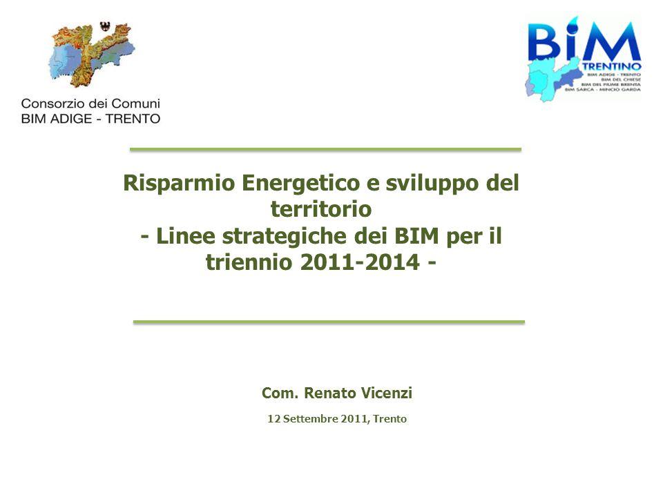 Risparmio Energetico e sviluppo del territorio - Linee strategiche dei BIM per il triennio 2011-2014 - Com. Renato Vicenzi 12 Settembre 2011, Trento
