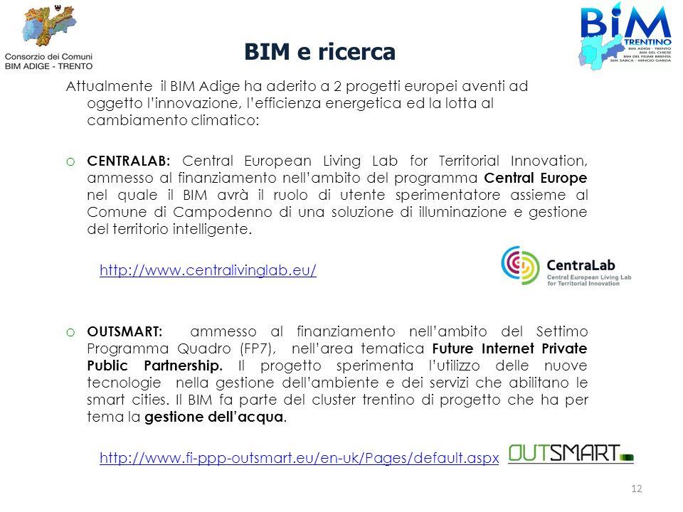 Attualmente il BIM Adige ha aderito a 2 progetti europei aventi ad oggetto linnovazione, lefficienza energetica ed la lotta al cambiamento climatico: