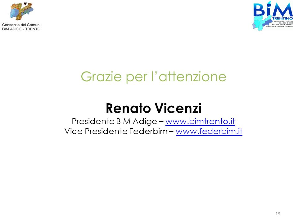 Grazie per lattenzione Renato Vicenzi Presidente BIM Adige – www.bimtrento.itwww.bimtrento.it Vice Presidente Federbim – www.federbim.itwww.federbim.i