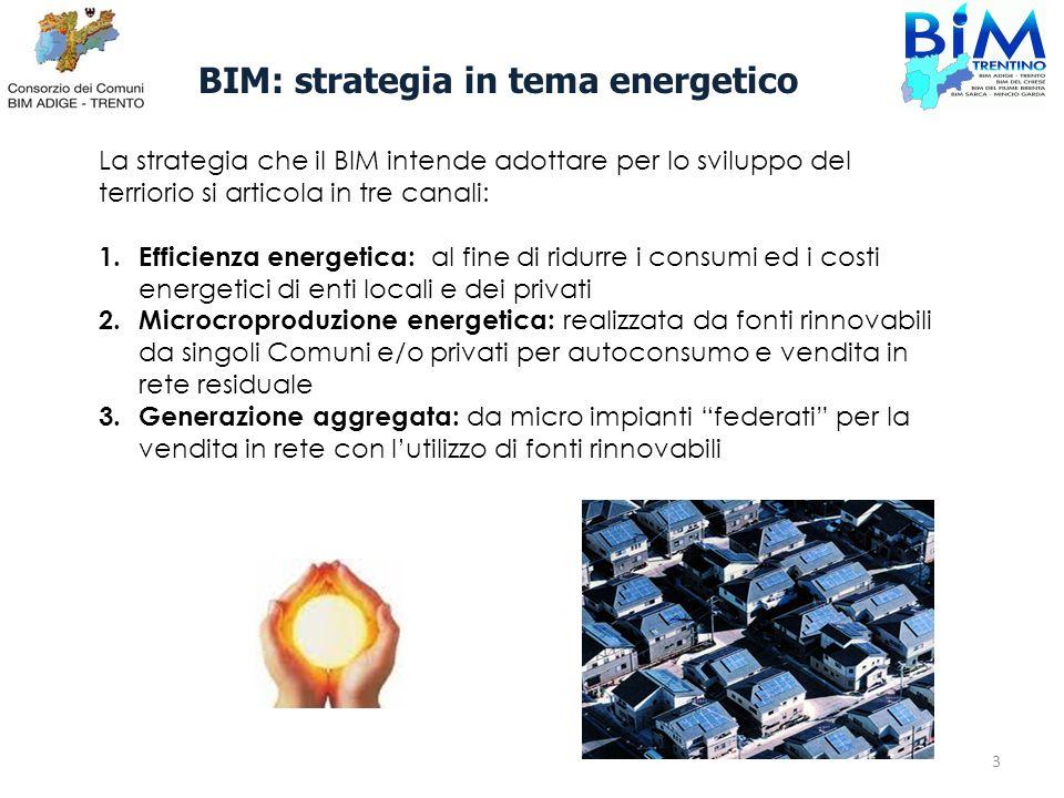 BIM: strategia in tema energetico La strategia che il BIM intende adottare per lo sviluppo del terriorio si articola in tre canali: 1. Efficienza ener