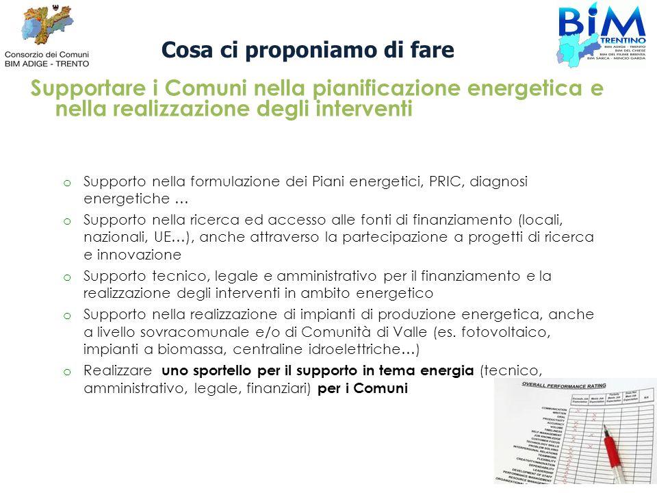 Cosa ci proponiamo di fare Supportare i Comuni nella pianificazione energetica e nella realizzazione degli interventi o Supporto nella formulazione de